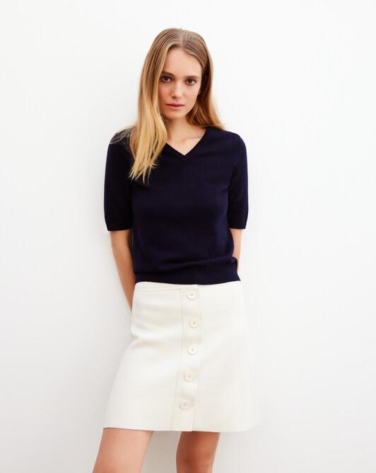Timeless short-sleeved V-neck pullover - Navy blue