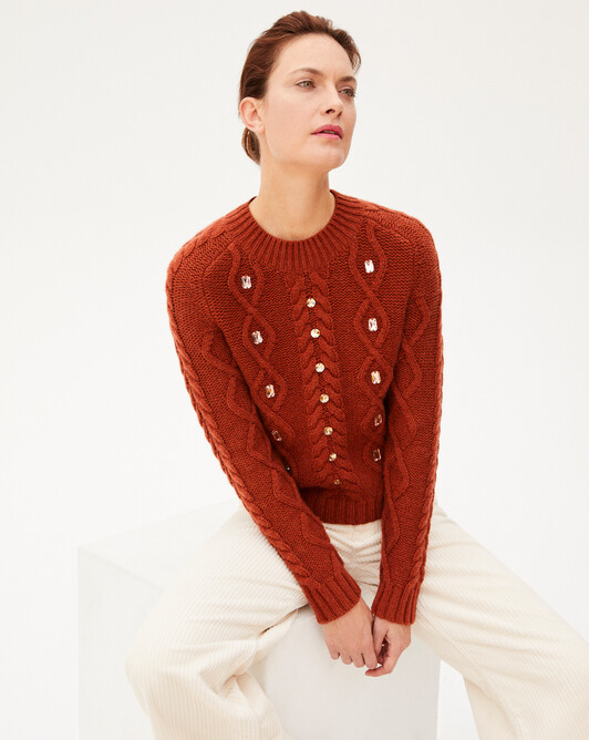 Cable stitch crew-neck sweater with crystal stones - Everbay
