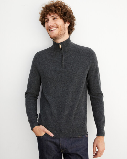 2-ply half-zip pullover - Charcoal grey