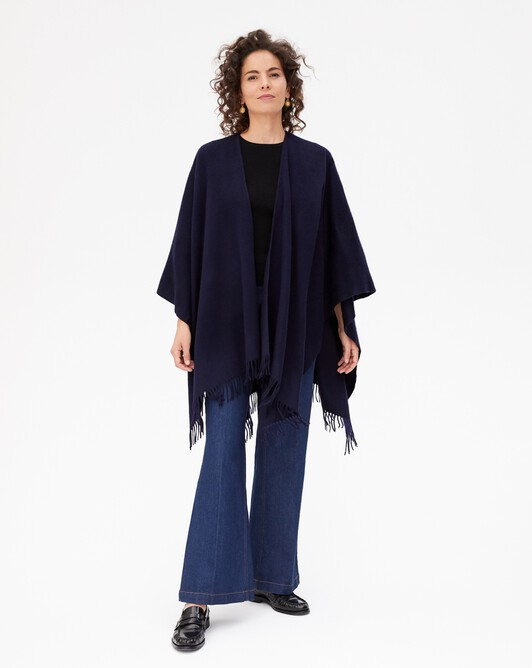 Twined fringed poncho - Navy blue