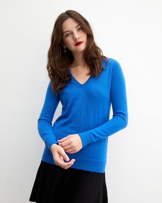 Contemporary extrafine V-neck pullover - Cobalt