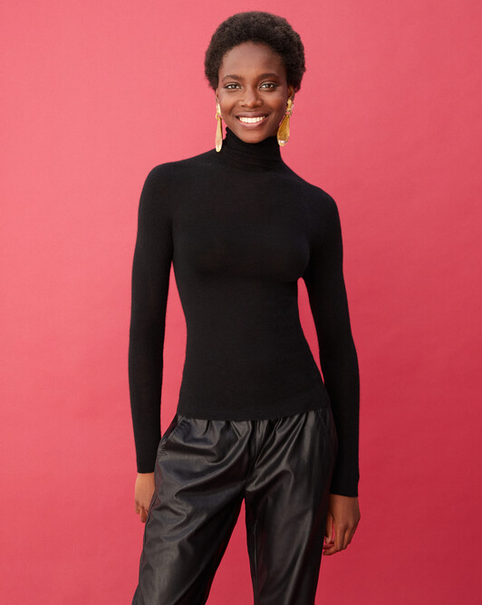 Extrafine roll-neck seamless - Black