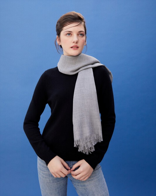 Cashmere voile scarf 150 cm x 55 cm - Flannel grey