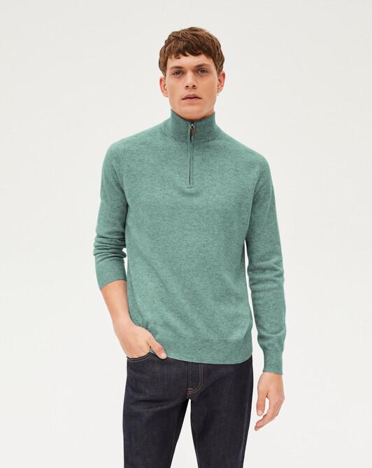 2-ply half-zip pullover - Spruce