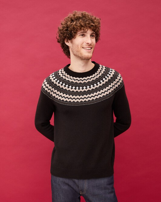 Fair isle crew neck pullover - Ebony