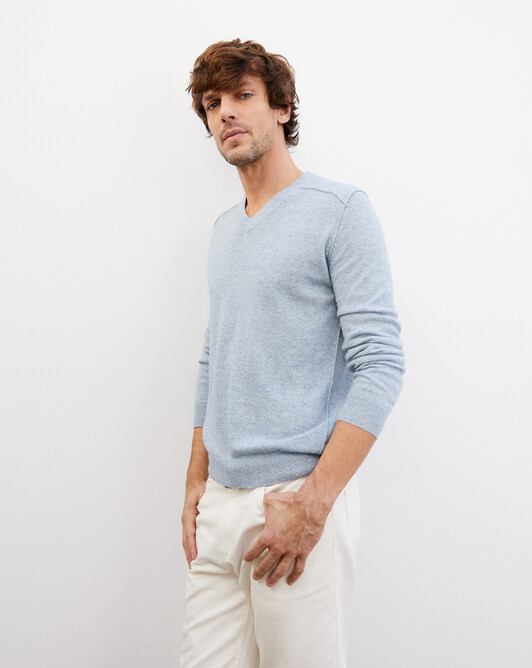 Cashmere/linen V-neck pullover - Denim blue