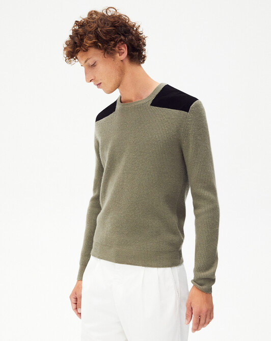 Suede patch crew-neck - Khaki