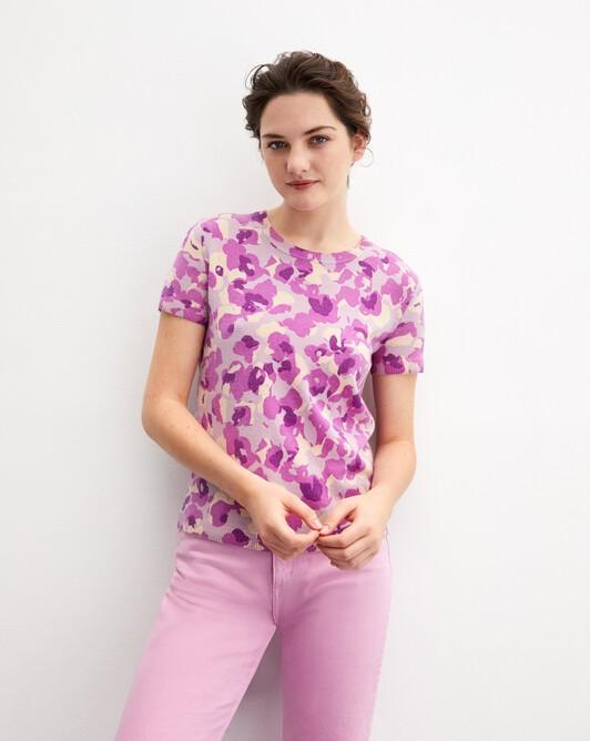 Blurred flower print short-sleeved crew neck pullover - Clematis