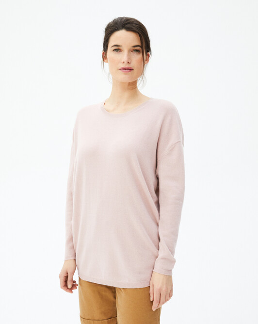 Contemporary maxi crew neck pullover - Petal