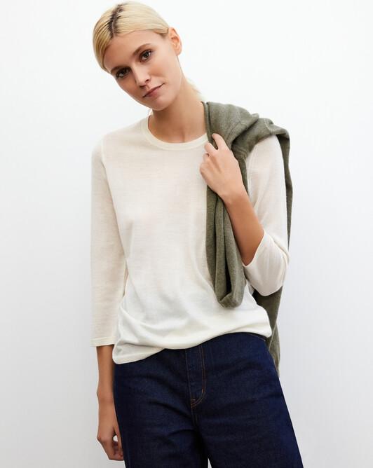 3/4 length-sleeved extrafine crew-neck pullover - Autumn white