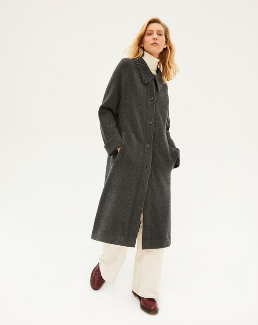 Rib collar milano coat - Charcoal grey