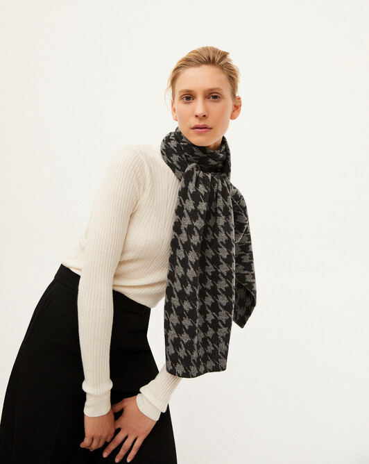 Houndstooth scarf 185 x 35 cm - College grey/charcoal grey