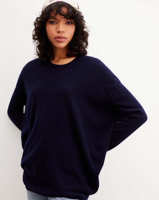 Contemporary maxi crew neck pullover - Navy blue