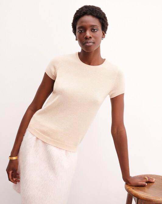 Open-back short-sleeved crew neck pullover - Sepia beige