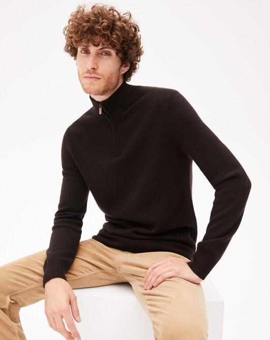 4-ply half-zip pullover - Ebony