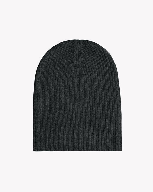 Half cardigan rib hat - Charcoal grey