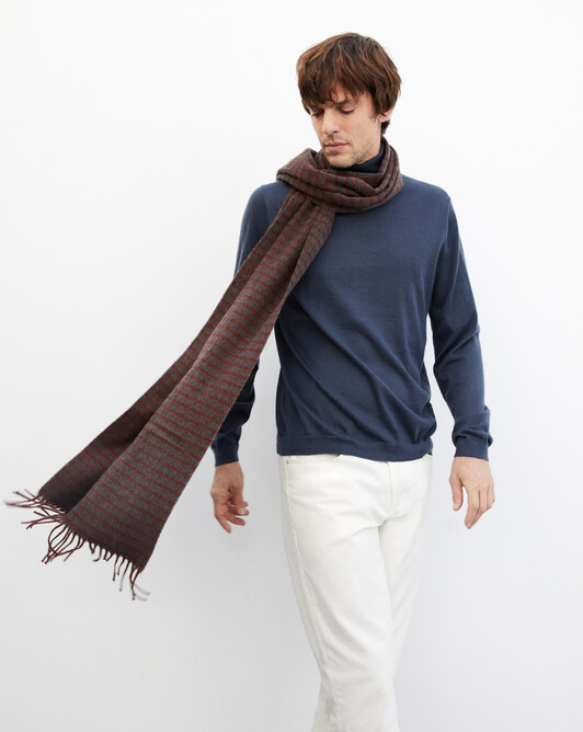 Tailored jacquard stole 200 cm x 40 cm - Chestnut/college grey