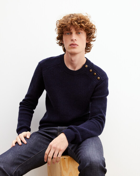 Beaded ribbing crew neck pullover with shoulder buttons - Navy blue