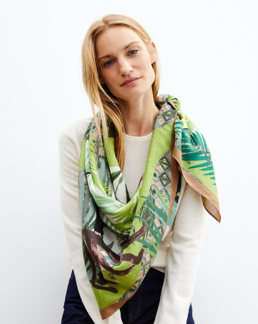 Jungle printed square scarf 120cm x 120cm - Khaki