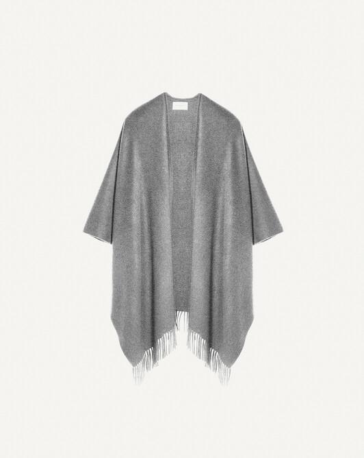 Twined fringed poncho - Flannel grey