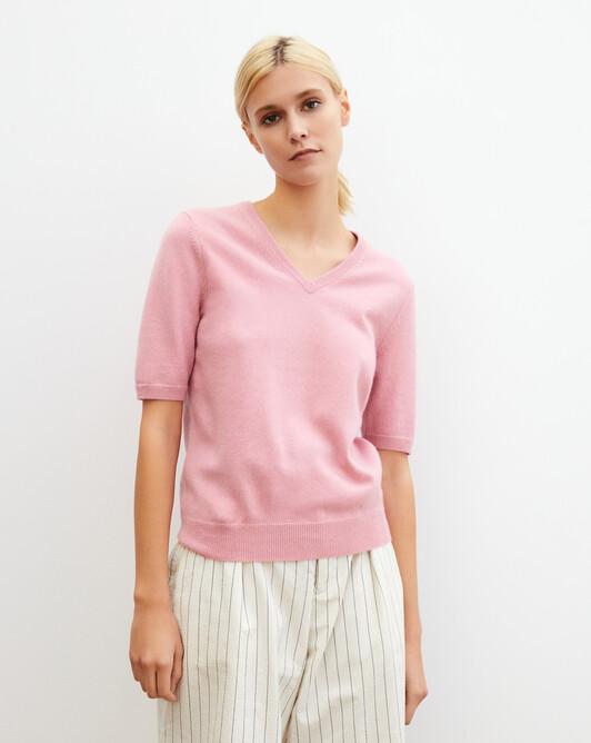 Timeless short-sleeved V-neck pullover - Sorbet
