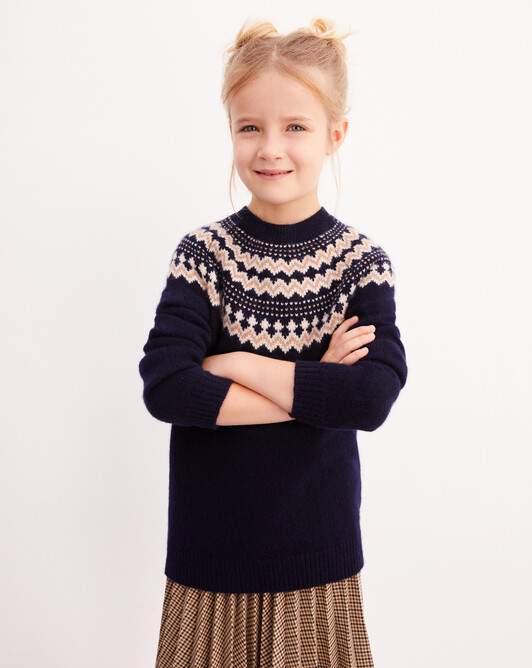 Snow fair isle crew neck pullover - Navy blue