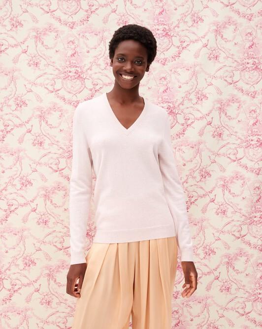 Classic V-neck pullover - Soft pink melange