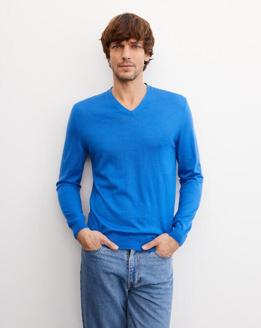 Pull V ultrafin contemporain - Bleu de france
