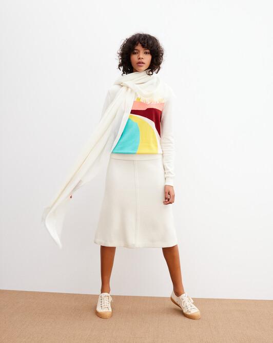 Cashmere voile stole 180 cm x 85 cm - Autumn white