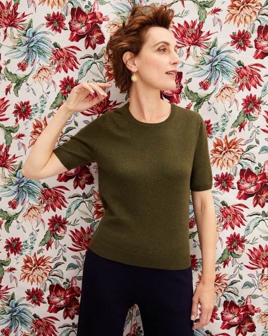 Classic short-sleeved crew neck pullover - Kale