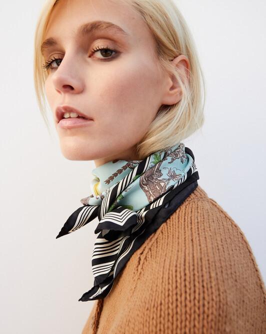 Bird printed silk square scarf 65cm x 65cm - Celadon