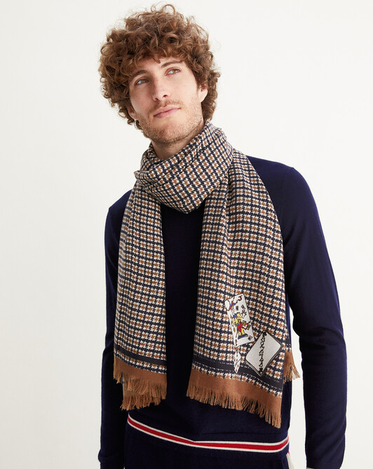 Houndstooth and game print scarf 180 cm x 85 cm - Tobacco