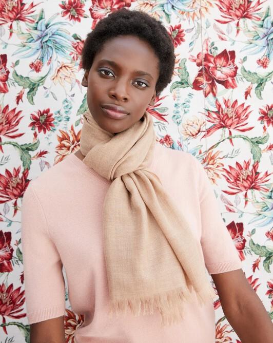 Cashmere voile scarf 150 cm x 55 cm - Camel