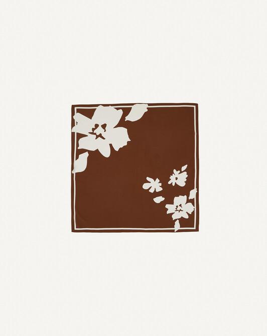 Carré soie bicolore fleuri - Cannelle