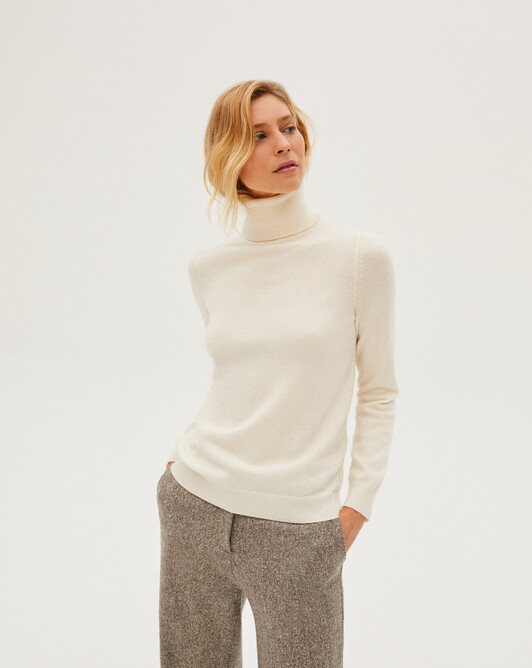 Classic roll-neck sweater - Autumn white