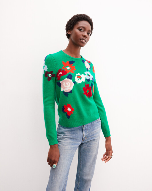 Flower intarsia crew neck pullover - Peppermint