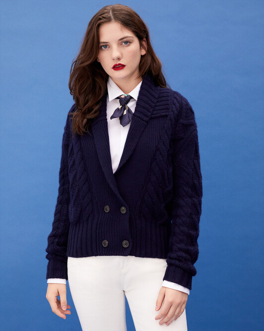 Double-breasted aran cable-stitch shawl collar jacket - Navy blue