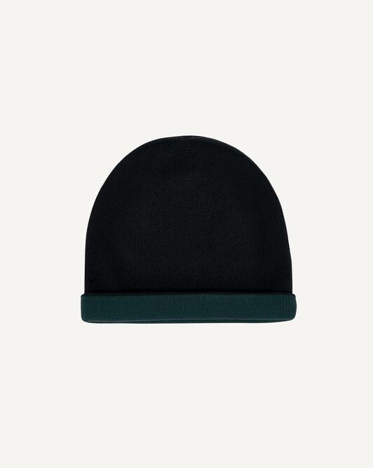 Two-colour off-gauge hat - Black/petrol blue