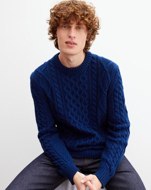 Cable-stitch crew neck pullover - Admiral blue