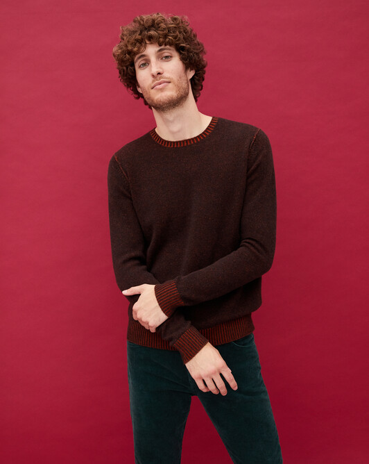 Two-tone plaited crew neck pullover - Ebony/everbay