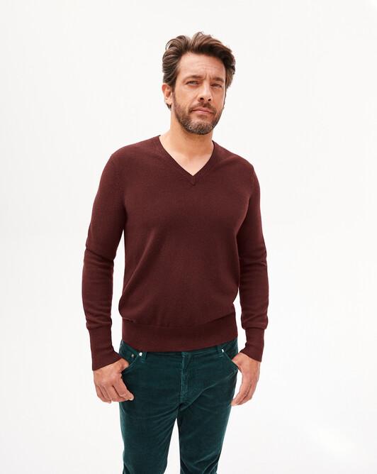 Classic V-neck sweater - Dahlia