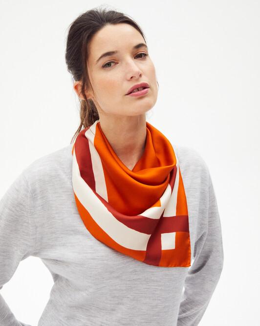 Applied edging silk square scarf 70 x 70 cm - Saffron
