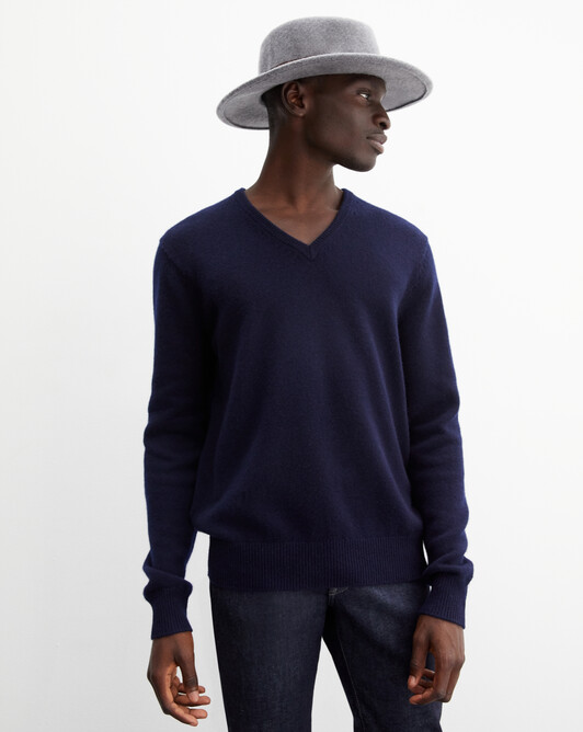 4-ply V-neck pullover - Navy blue