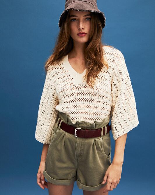 Hand-crocheted tunic - Autumn white