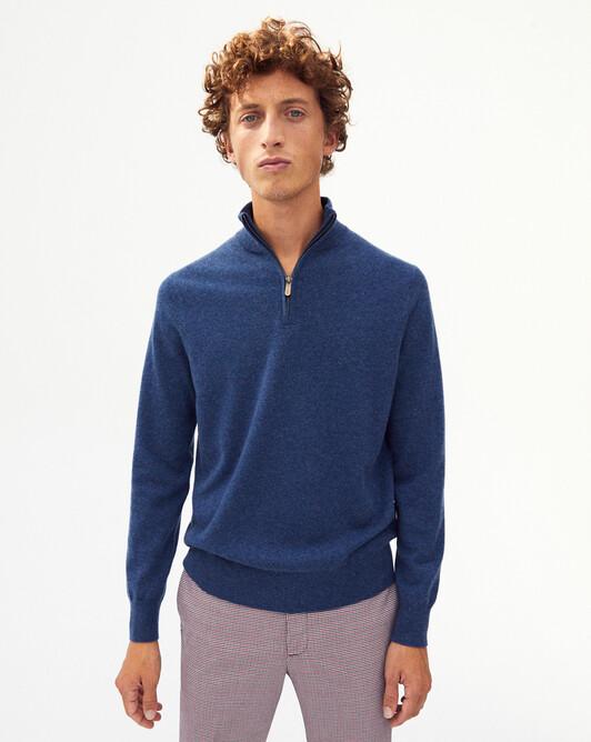 2-ply zip-neck sweater - Indigo