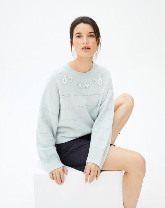 Jewelled paisley embroidered crew-neck sweater - Aqua green