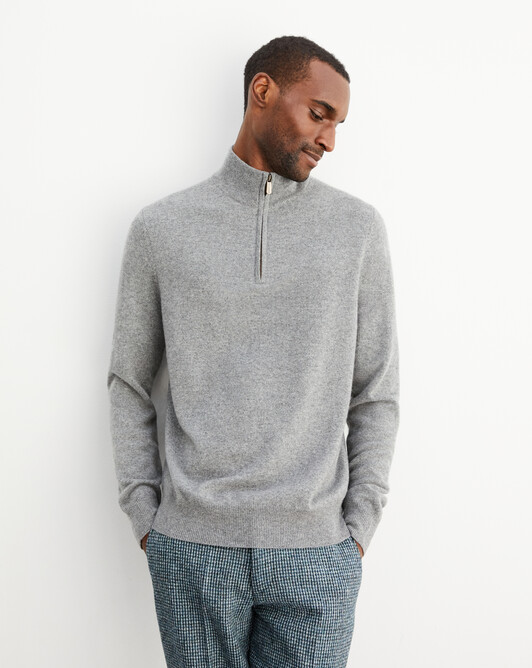 2-ply half-zip pullover - Flannel grey