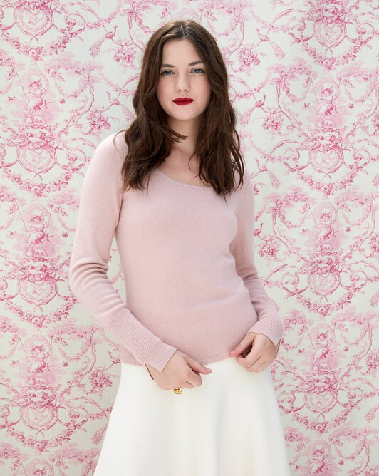 Fitted scoop crew neck pullover - Petal