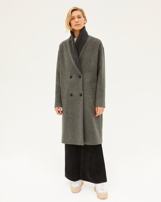 Double face rib collar coat - College grey