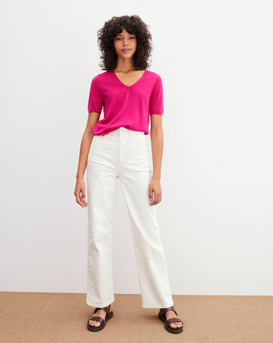 Contemporary extrafine short-sleeved V-neck - Heat